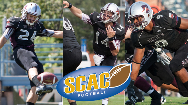 Trinity's Smith, Boboy, and Kennemer Named SCAC Football Players-of-the-Week