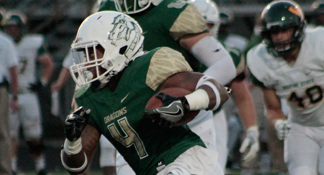 Tiffin University's JaQuan Hardy had a field day, rushing for 225 yards.