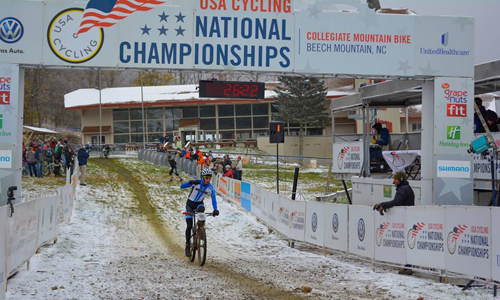 Valdez crosses the finish line in 1st in the Short Track race