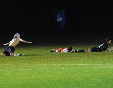 Dowsley after scoring the last minute goal advancing the Eagles to the national championship match for the first time in program history.