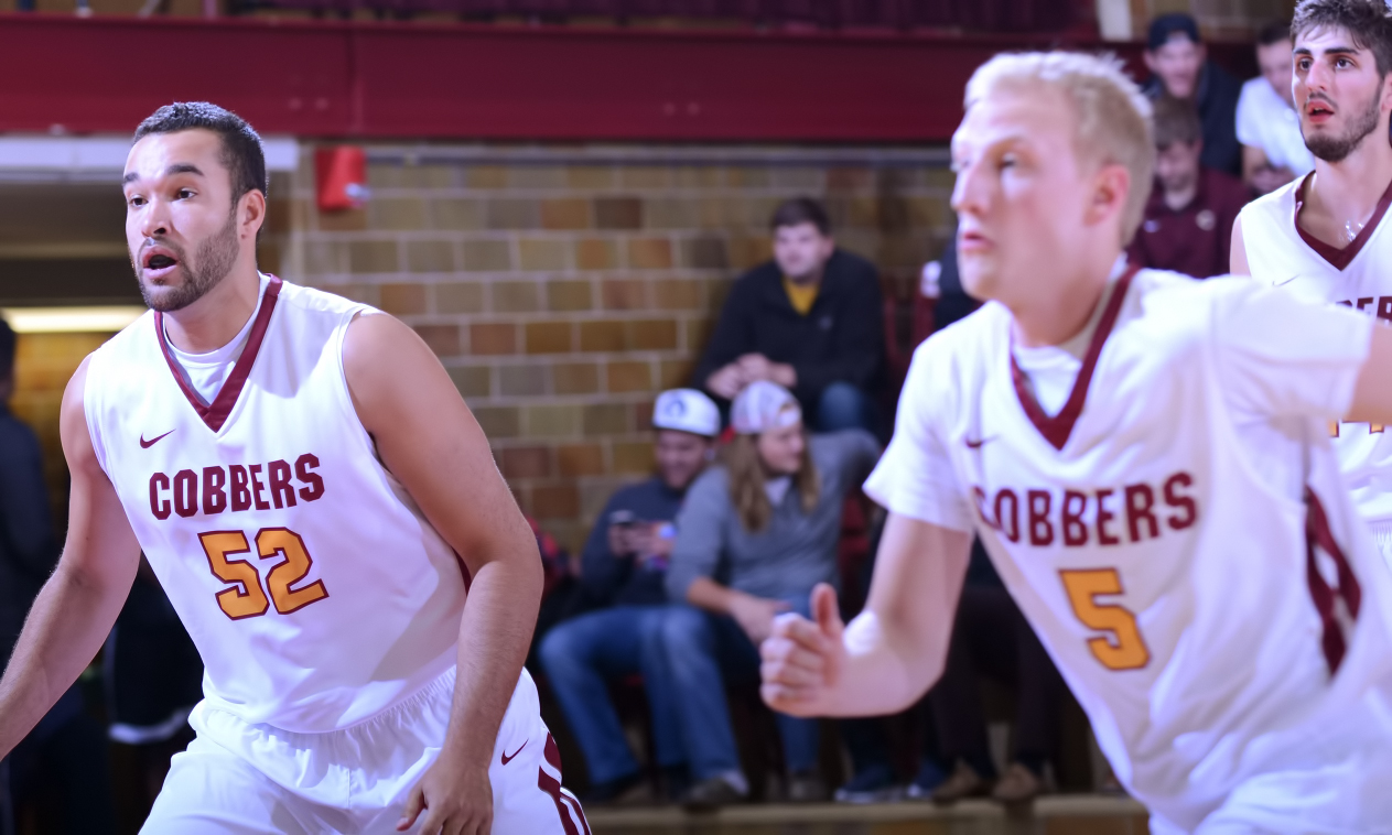 Isaac Anderson (#52) scored 12 points to record his third double-digit point total in the past five games in the Cobbers' loss at No.3 St. Thomas.