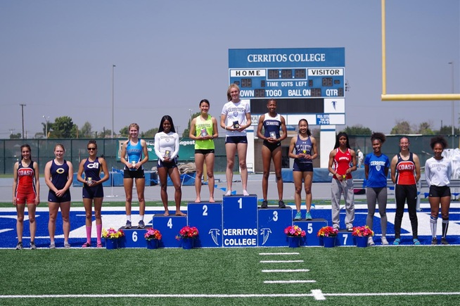 Michaela Banyi (middle) won the Southern California Heptathlon Championship