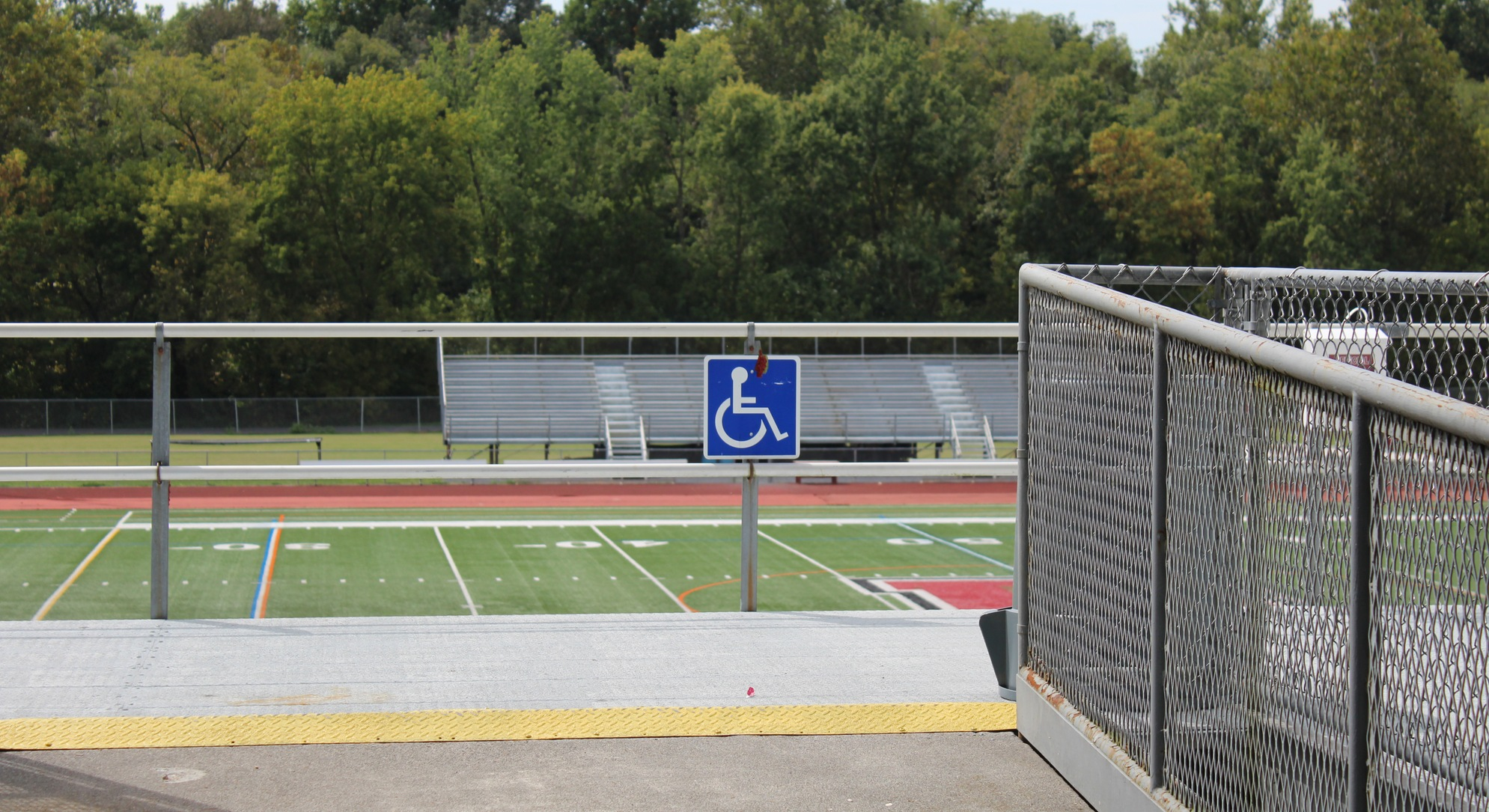 wheelchair sign at the jopson field bleachers