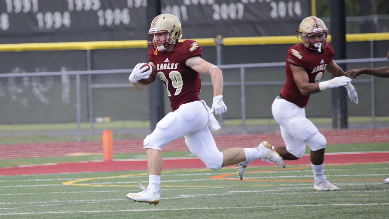Jarrod Denham returned a kickoff 87 yards for a touchdown in the first quarter of Bridgewater's 30-22 loss to Delaware Valley in the first round of the NCAA Division III Tournament.