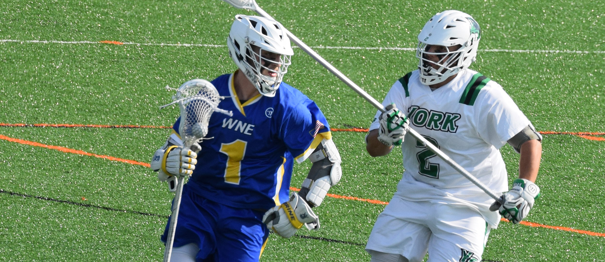Senior Mikey Wood scored two goals in Western New England's 15-7 loss to York College in the second round of the NCAA Tournament on Wednesday.