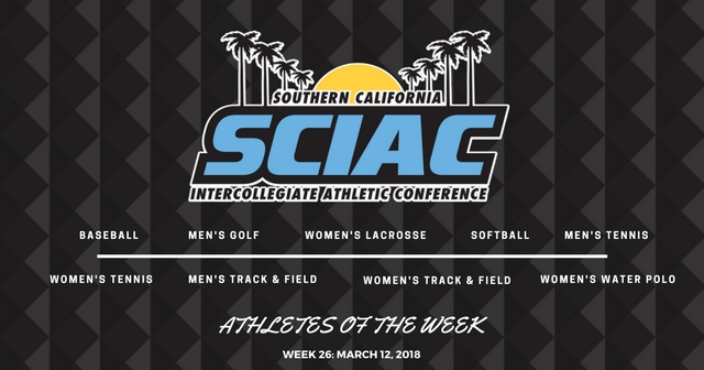 SCIAC Athletes of the Week: March 12, 2018