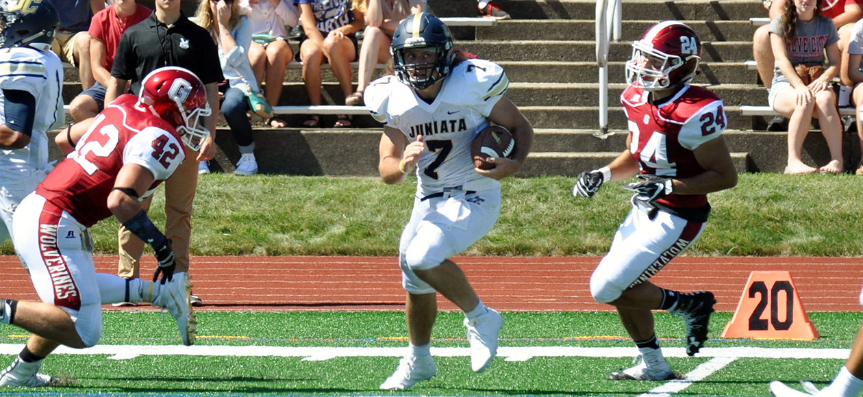 Kirby Breault caught 11 passes for 146 yards and two touchdowns against the River Hawks.