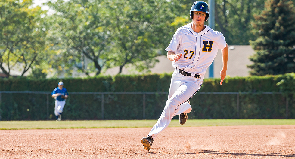 BASEBALL SWEEPS GEORGE BROWN; MOVES INTO FIRST PLACE