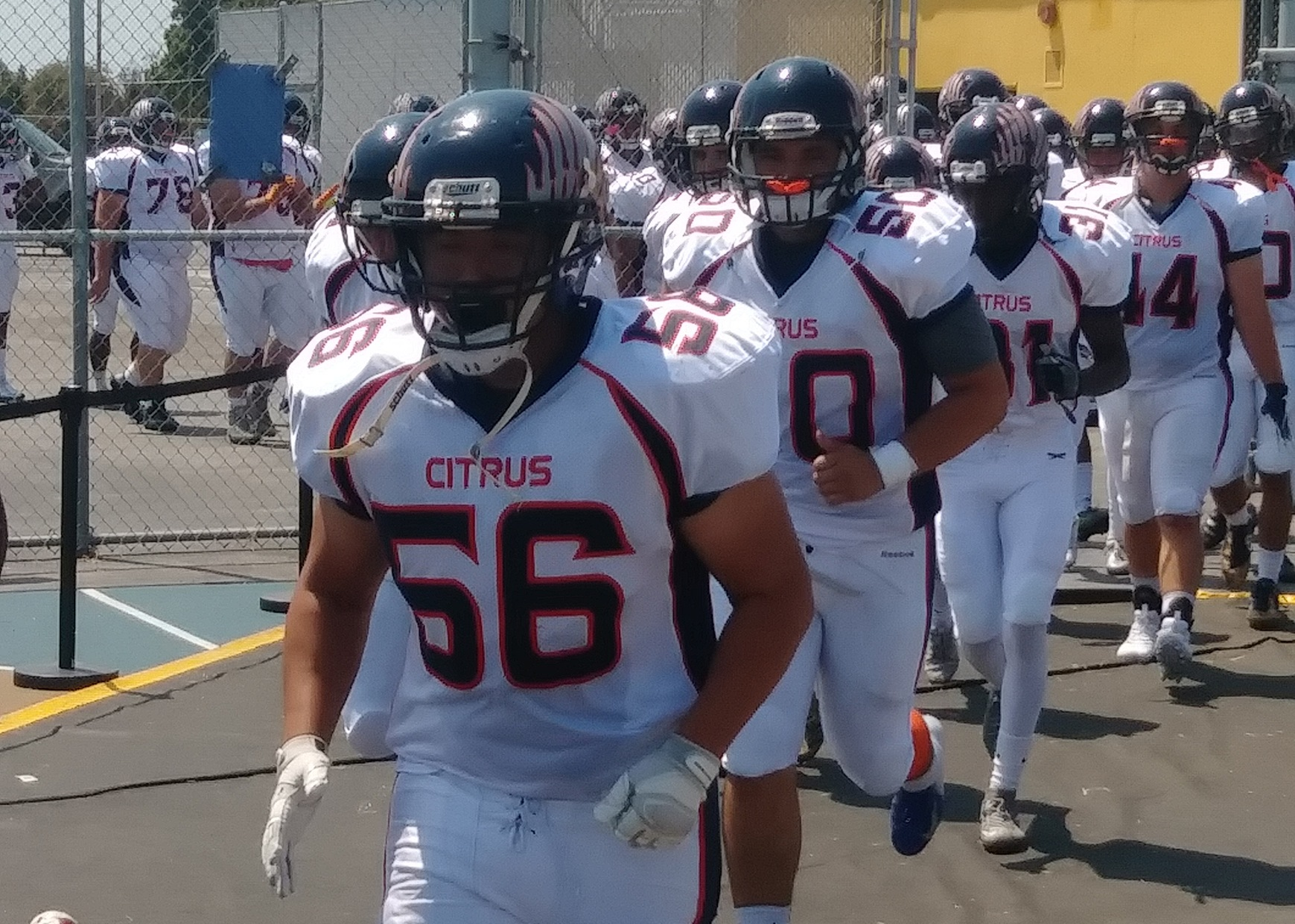 Citrus heads out to the field before Saturday's big win over West LA. Image credit: Jeremy Meyer
