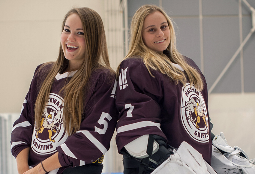 Katresa Shwetz, left, and Sandy Heim are two of five graduating players the Griffins will honour prior to their final ACAC game of the regular season on Saturday night (Len Joudrey photo).