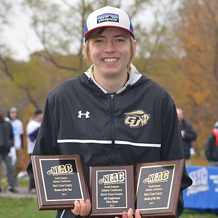 Gallaudet's Otto Kingstedt holds three NEAC trophies
