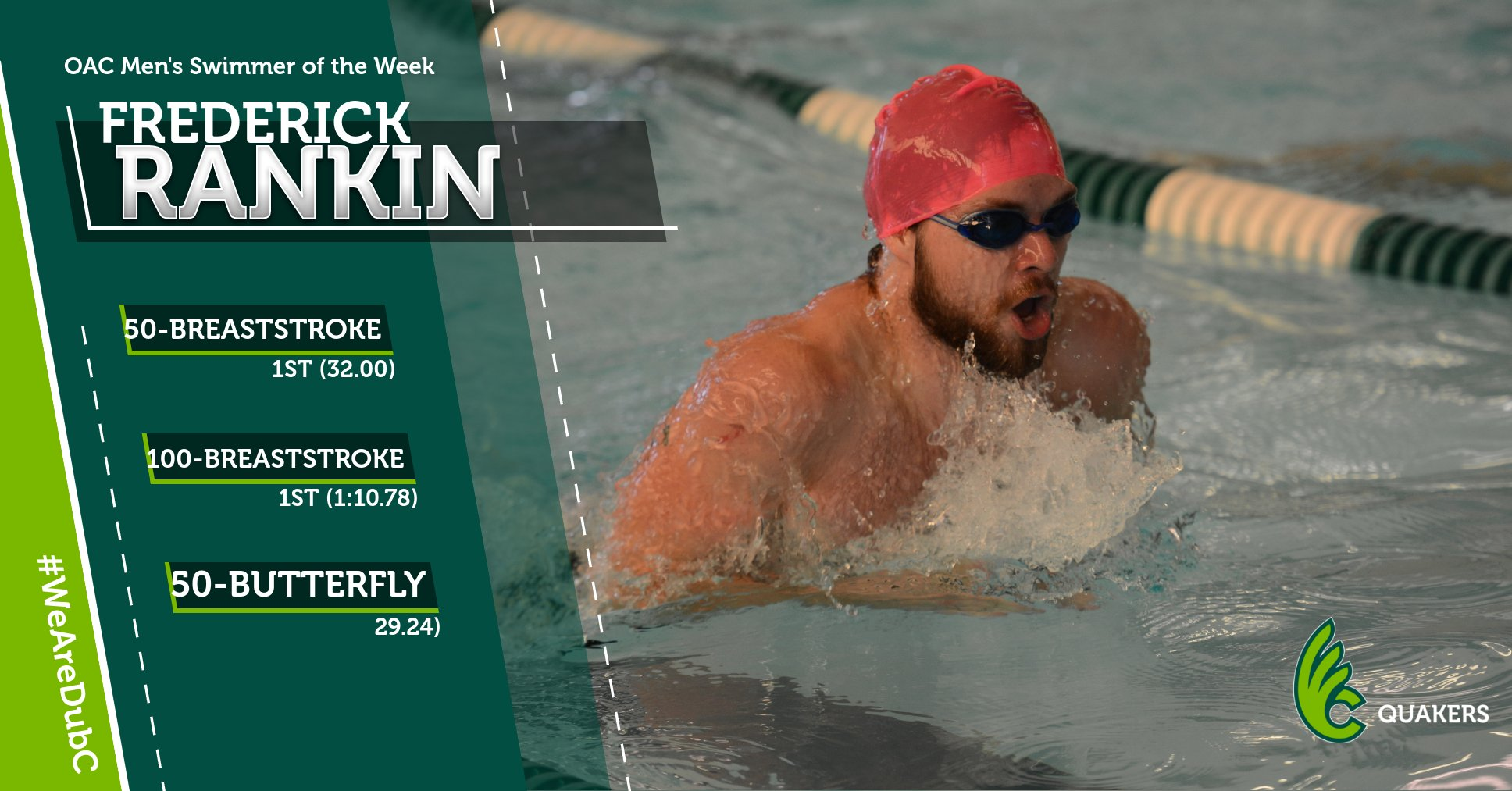 Frederick Rankin Named OAC Men's Swimmer of the Week