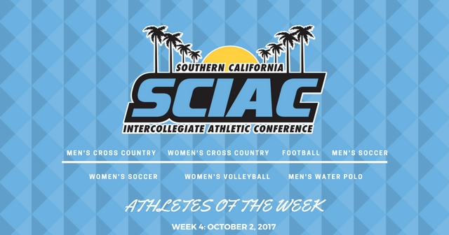 SCIAC Athletes of the Week: October 2, 2017