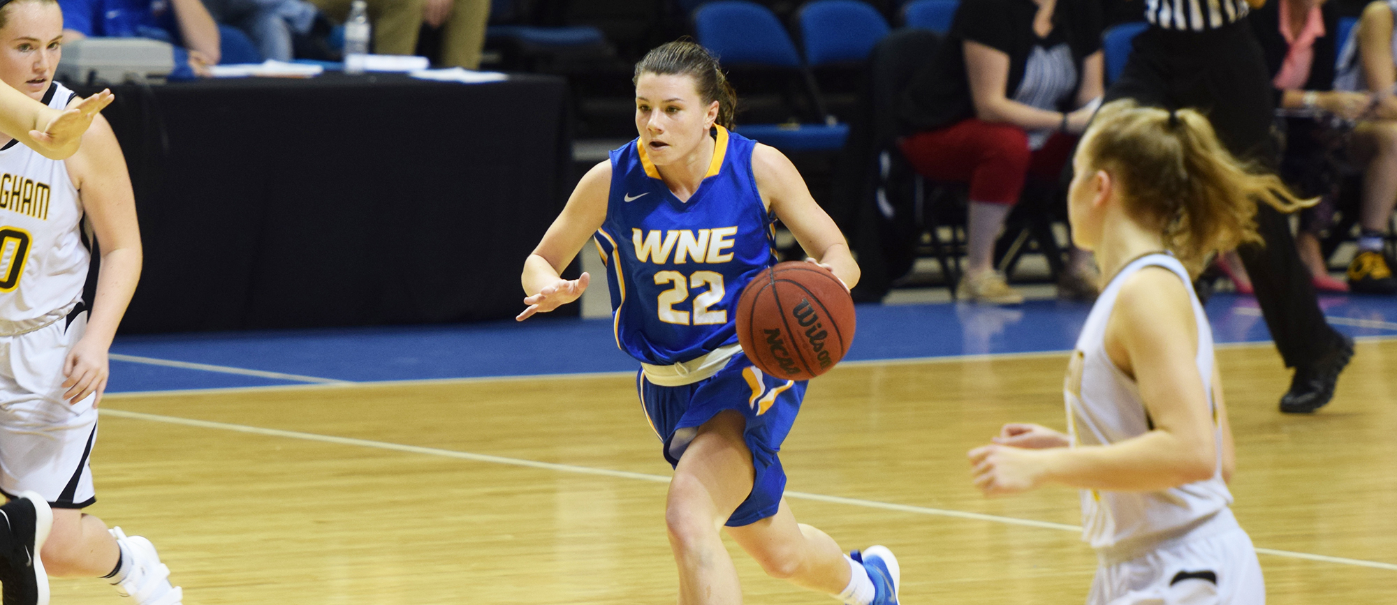 Sophomore guard Emily Farrell scored 14 points and grabbed a career-high nine rebounds in Western New England's win over Curry on Thursday night.