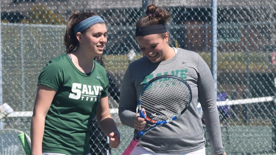 Emma Gruber (left) and Taylor Amendola paired for the first time as seniors at No. 1 doubles. (Photo by Erica Bonnette-Lykens)