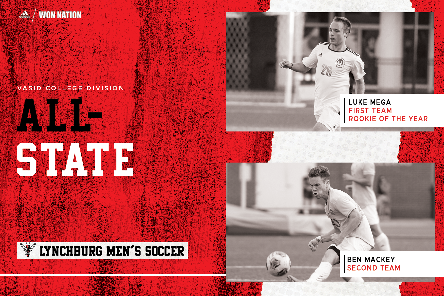 Red and white all-state graphic with black and white photos of Luke Mega and Ben Mackey playing soccer at right