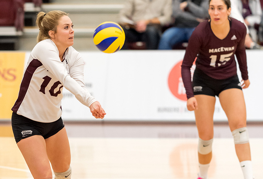 Zoe Cronin, left, has 481 career digs for the Griffins - the fourth most in MacEwan's Canada West history (Chris Piggott photo).