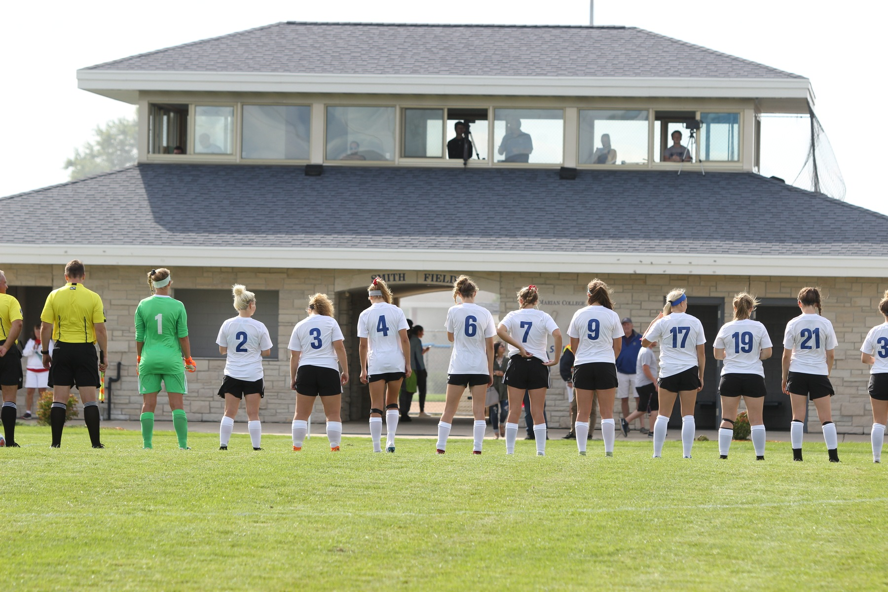 Marian lines up for starting lineups.