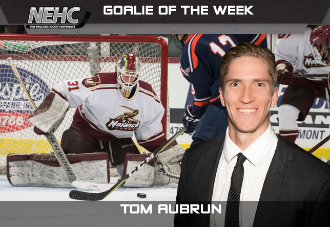 Tom Aubrun men's hockey NEHC Goalie of the Week
