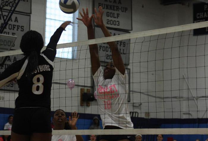 Volleyball Falls to Frostburg in Annual Pink Match