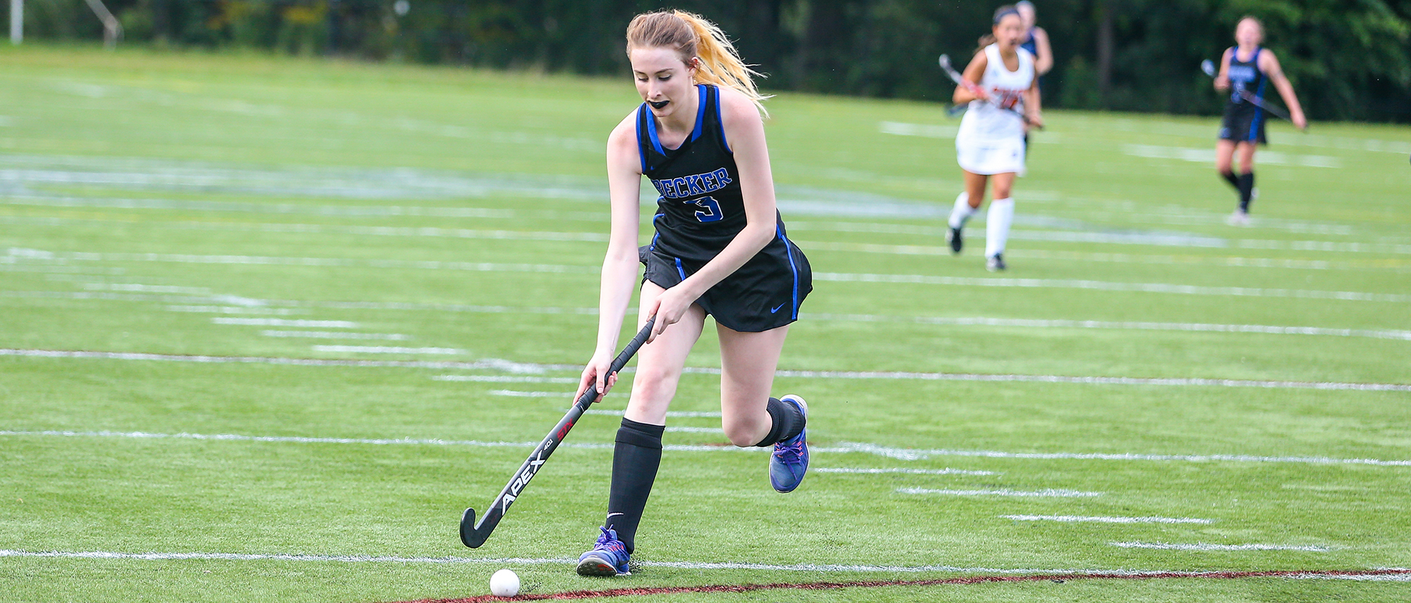 Katherine Bernier scored the first goal of the game as the Hawks defeated Bay Path 3-2.
