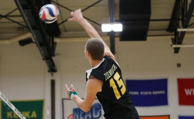 Connor Gail (15) led Keuka College with 27 kills on the day -- Photo by Abdul Alhumayni