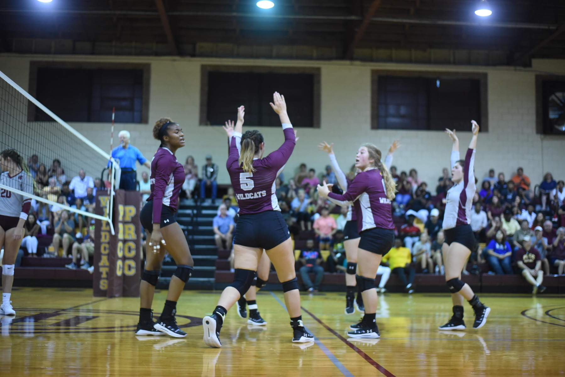 Pearl River's volleyball team defeated visiting Coastal Alabama-East 3-0 (28-26, 25-17, 25-10) on Aug. 24, 2019 at Shivers Gymnasium in Poplarville, Mississippi. PRCC is the first Mississippi junior college to add volleyball as a sport. (KRISTI HARRIS/PRCC ATHLETICS)