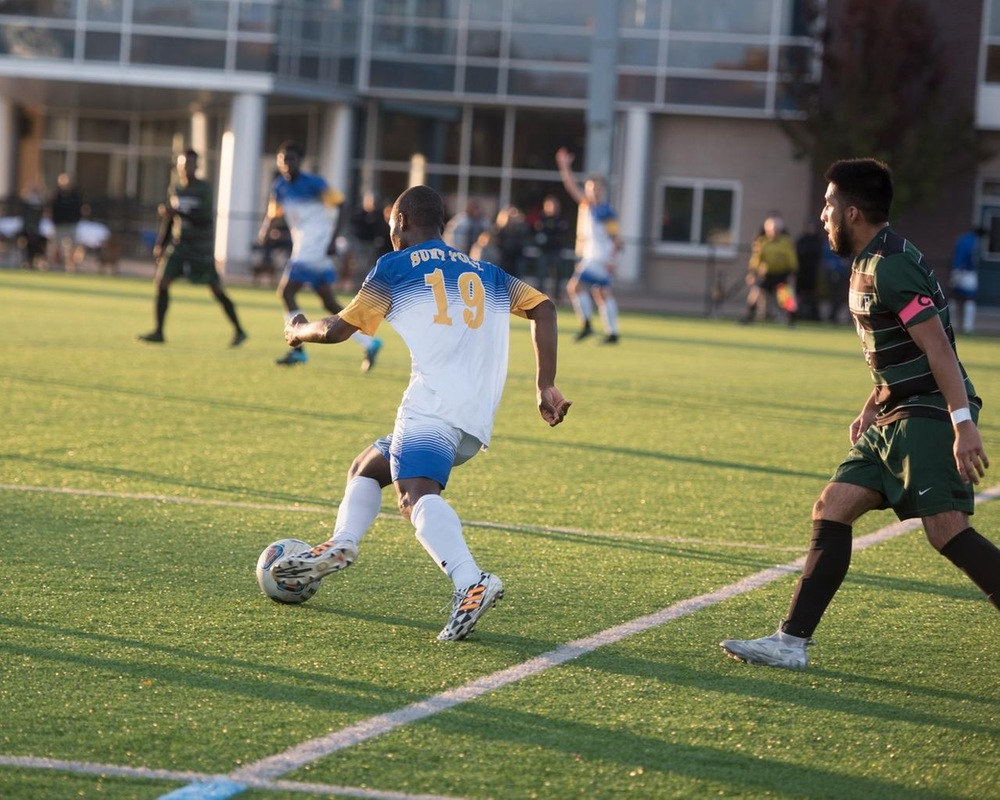 MSOC: Alonge's Two Goals Help SUNY Poly Advance to NEAC Final Four.