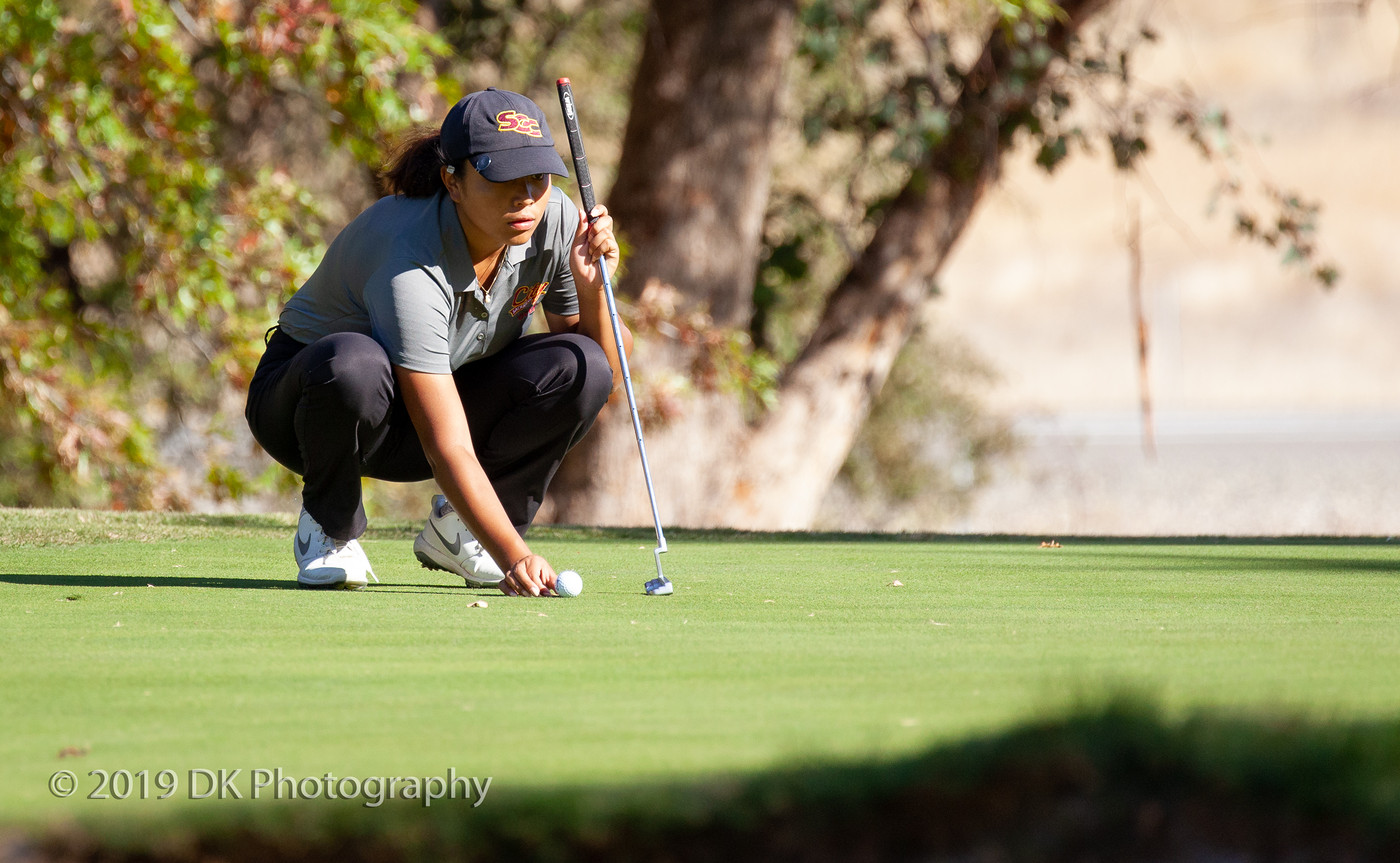 Arrianna Custodio, City College sophomore lines up her putt on hole number 14 at the Big 8 #7 Golf Tournament at Butte Country Club Golf Course on Oct. 17th.