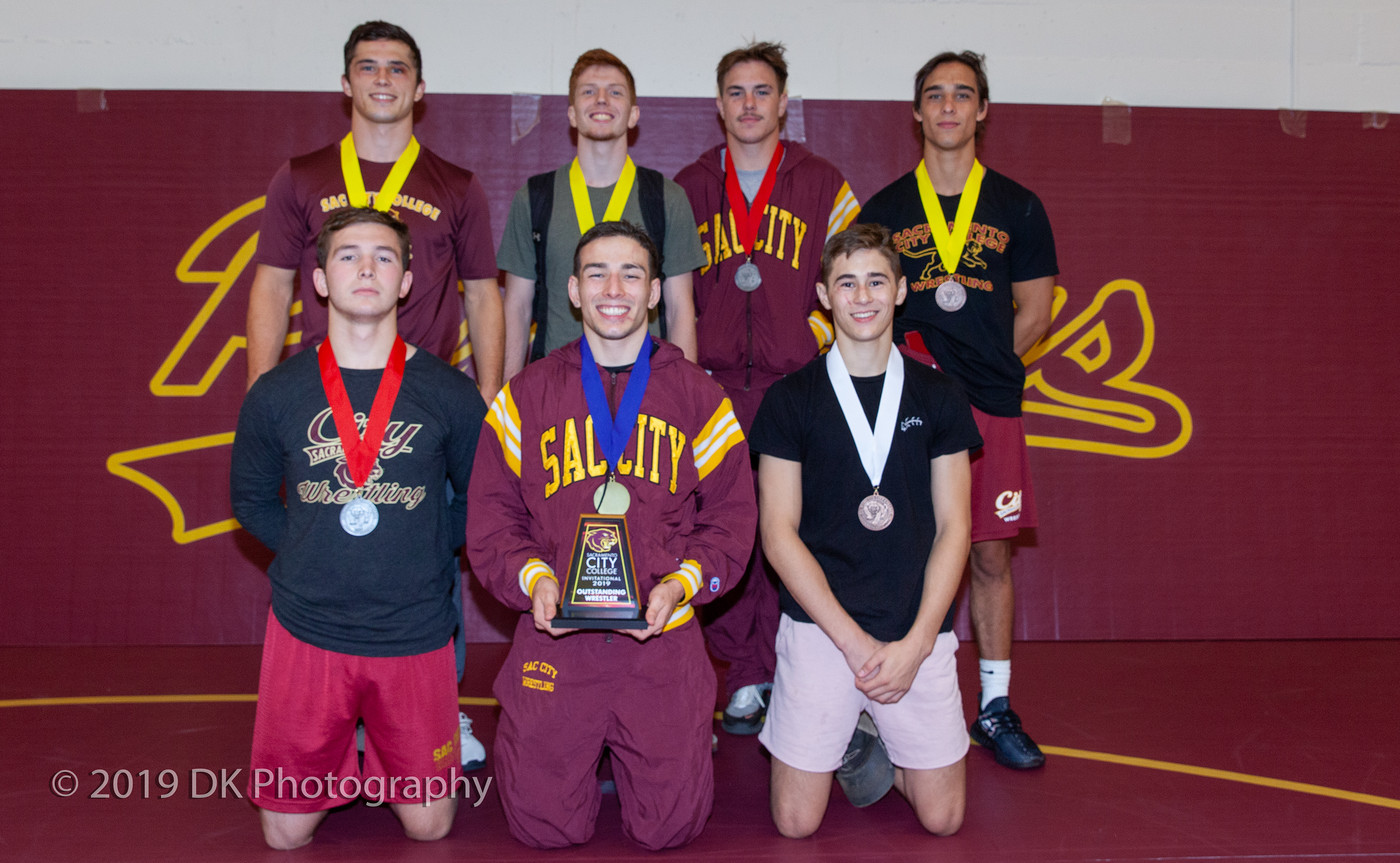 City College medal winners back row Hunter Larue (left), Trevor Mattox, Chase Miles, Cole Kachmar and front row Manny Curry (left), Paul Ortiz and Jacob Hiller at the Sac City Invite in the North Gym on Sept. 21st