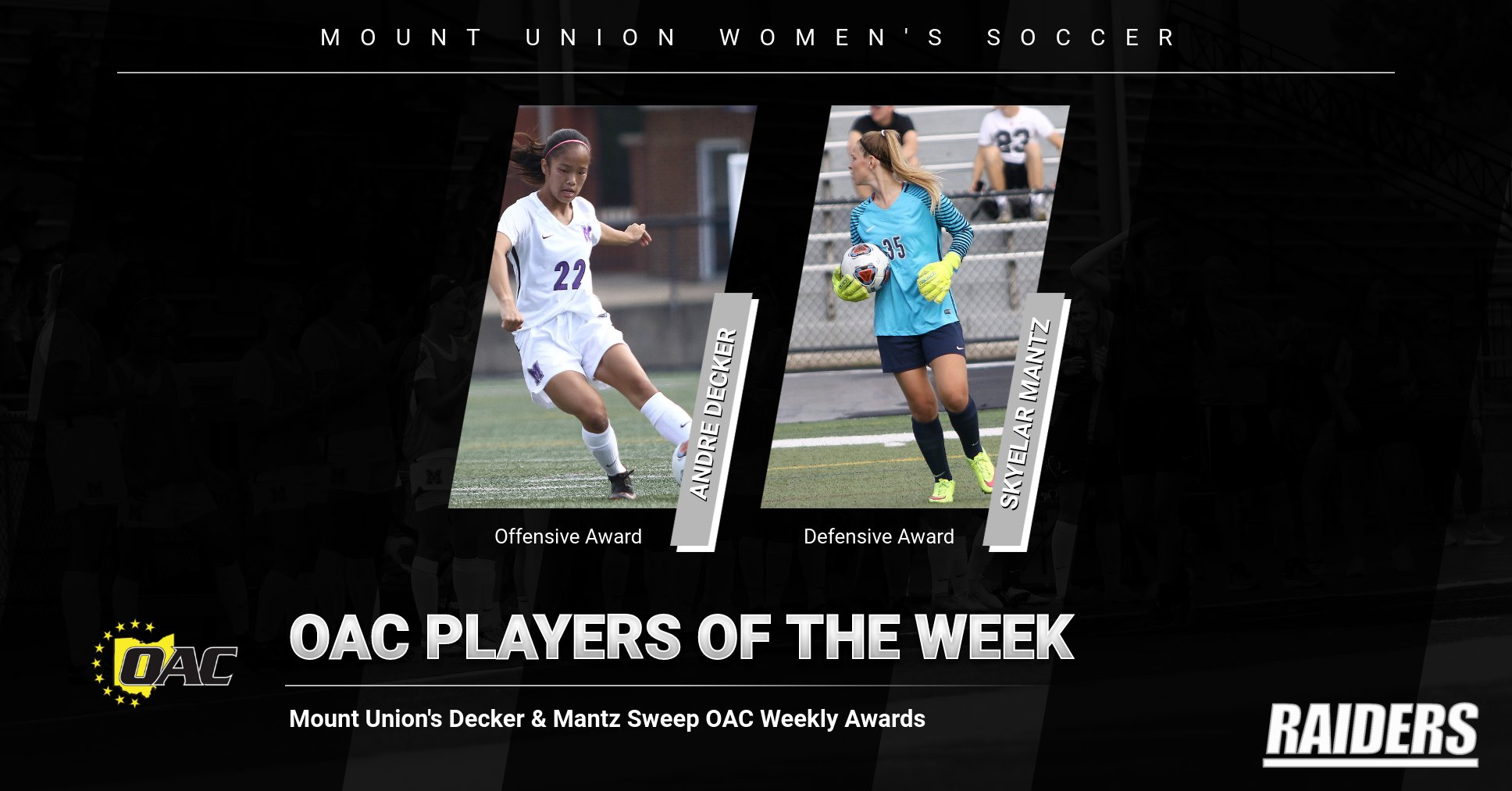 Mount Union's Mantz and Decker Sweep OAC Weekly Awards