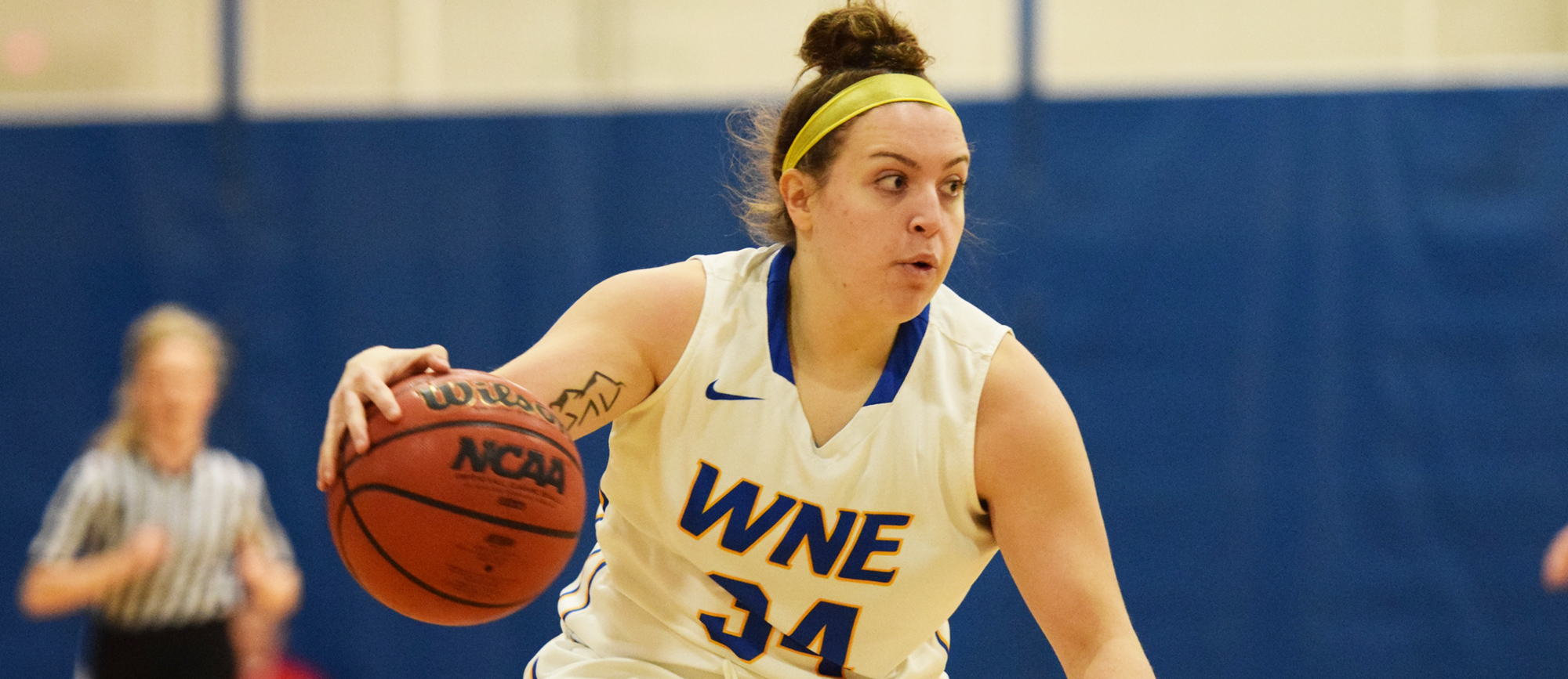 Sophomore Julia Quinn scored 9 of her 12 points in the fourth quarter of Western New England's 65-60 win at UNE on Saturday. (Photo by Rachael Margossian)