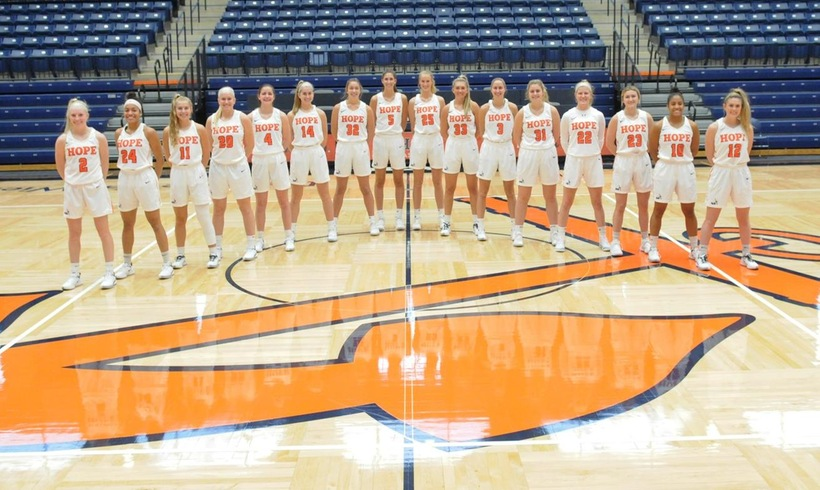 Hope College women's basketball team poses for a team photo.