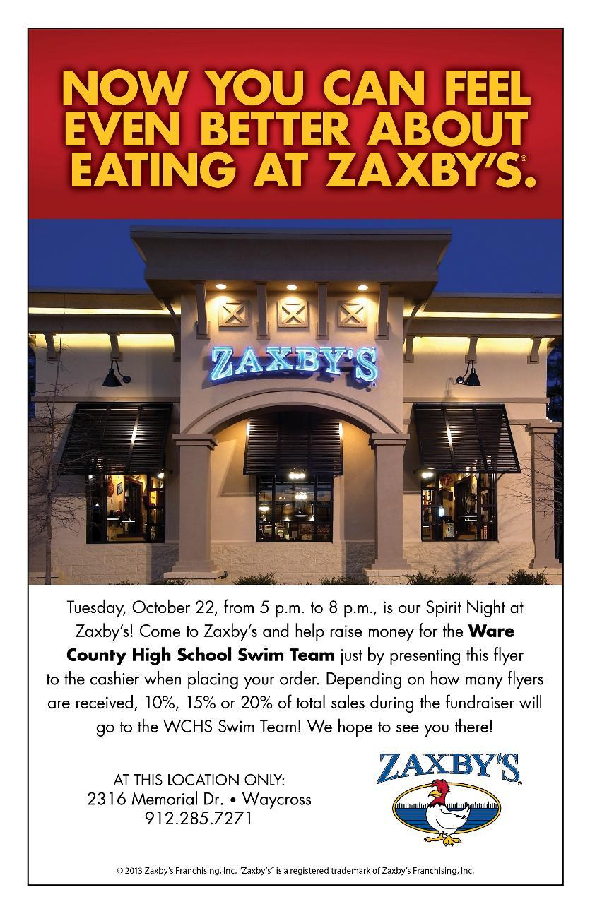 Zaxby's Team up with Swim Team for Fundraiser