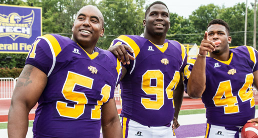 Jerry King, Malcolm Mitchell and Blake Adams and the rest of the Golden Eagles will welcome football alumni back to Tucker Stadium Saturday night