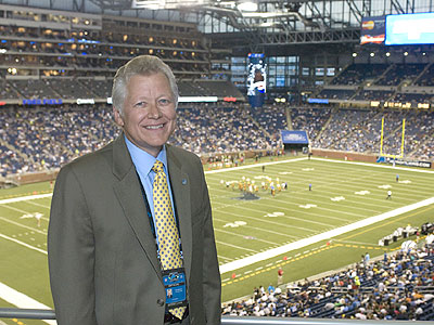 Former Ferris SID Tim Pendell, shown here at Ford Field, will be on campus this Saturday (Photo by Matt Yeoman)