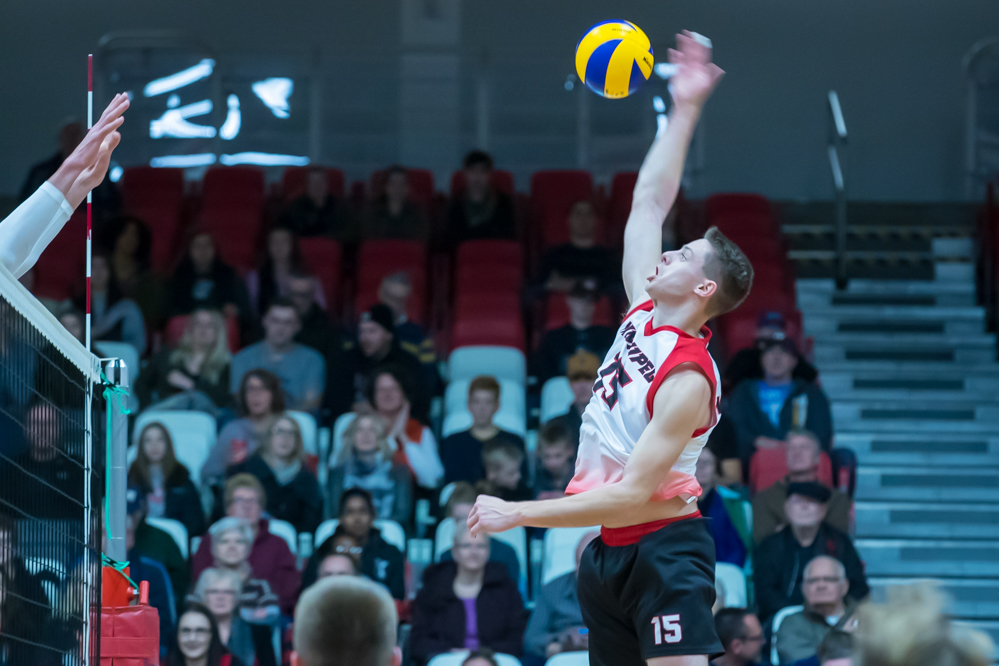 Adrian Dyck had a team-high 13 kills in the Winnipeg Wesmen loss at Thompson Rivers, Friday, Nov. 16, 2018. (Kelly Morton/Wesmen Athletics file)