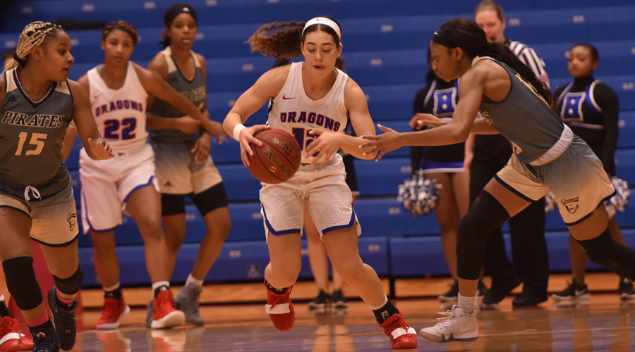 Tia Bradshaw had 12 points and several key defensive plays as No. 8 Hutchinson defeats Neosho County 87-78 on Wednesday in Chanute. (Andrew Carpenter/Blue Dragon Sports Information)