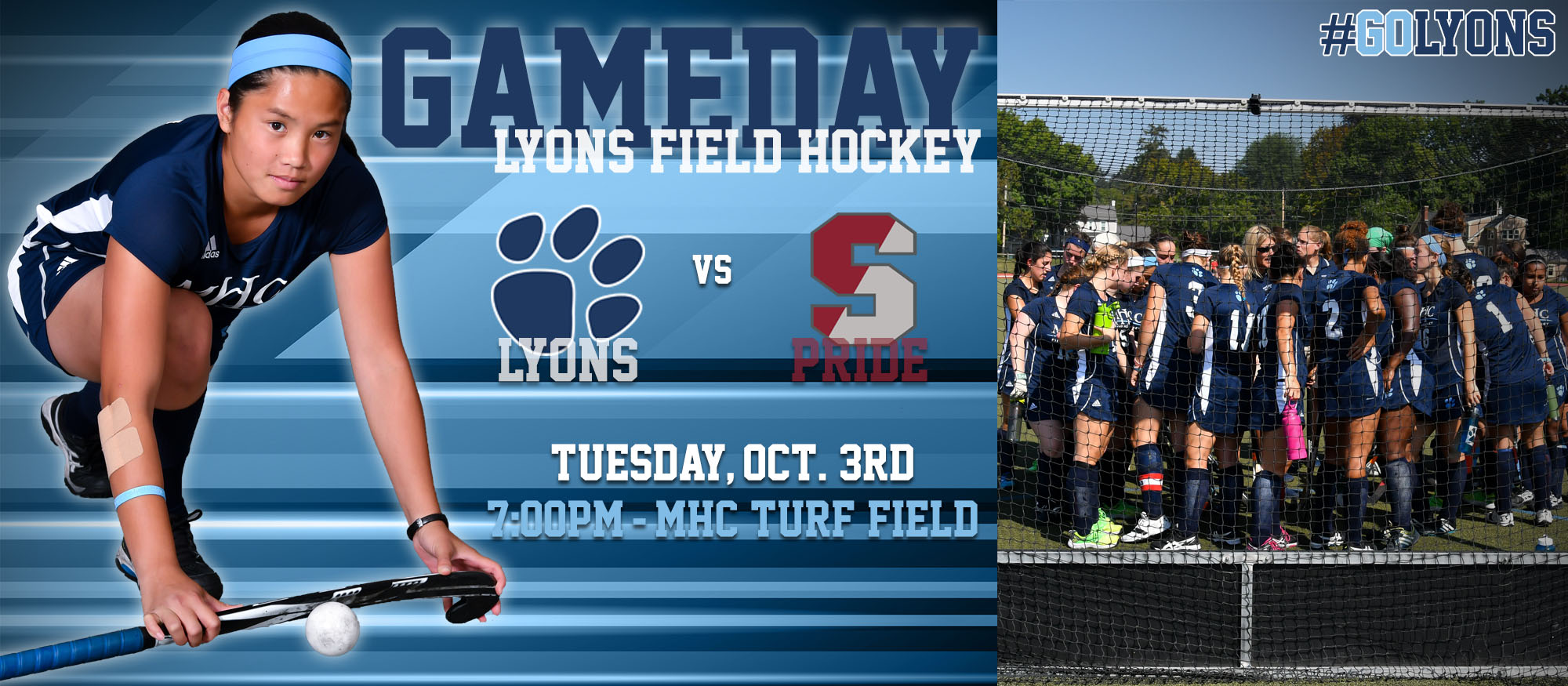 Gameday preview image for Lyons field hockey versus Springfield College on October 3rd on the Turf Field