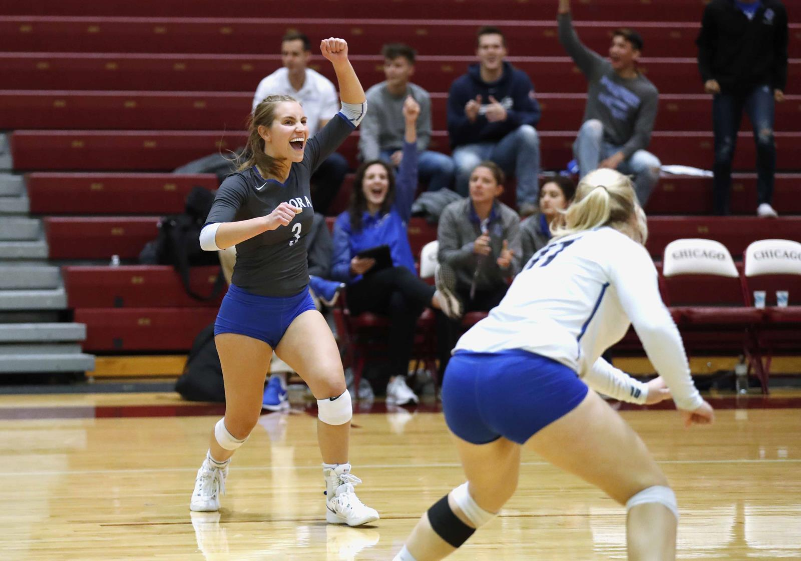 Aurora upset regional host and No. 11-ranked University of Chicago in five sets to advance to Sunday's regional final in the NCAA Division III Women's Volleyball Championship. (Photo credit: Steve Woltmann)