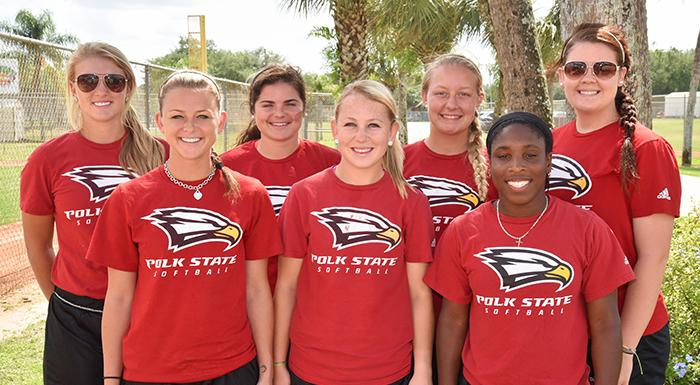 From left: Kacie Booth, Amber Butler, Erica Morrissey, Harlee Rimes, Taylor Baker, Shelisa Oliver, Lauren West. (Photo by Tom Hagerty, Polk State.)