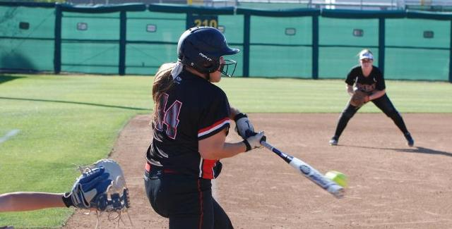 Marissa Moser put the ball in play on this at bat and reached on an error that allowed Annie Dowling to score the go-ahead run in the Dons 2-1 win over Santiago Canyon College.