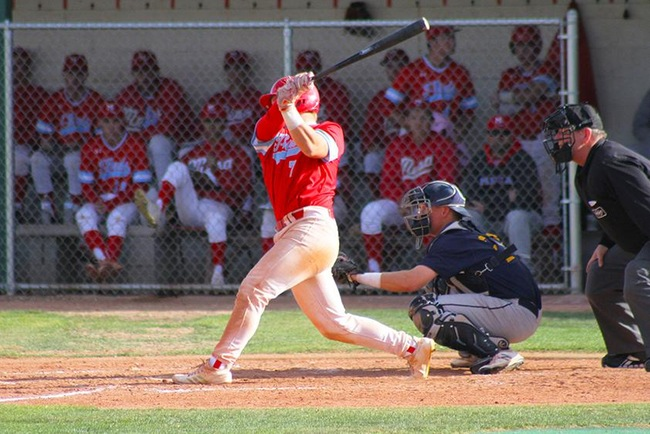 Riley Peterson hit one of Mesa's three homeruns against Chandler-Gilbert Thursday afternoon. (photo by Aaron Webster)