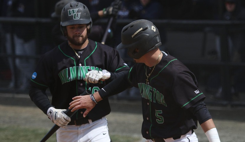 Copyright 2018; Wilmington University. All rights reserved. File photo of Brooks Ryan (left) who batted 4-for-8 with a home run, three RBI, and three runs scored int he doubleheader at CHC. Photo by Frank Stallworth. March 25, 2018 vs. Goldey-Beacom (Game 1)
