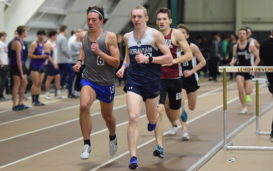 Junior Greg Jaindl runs during the Moravian Indoor Invitational at Lehigh University in January.