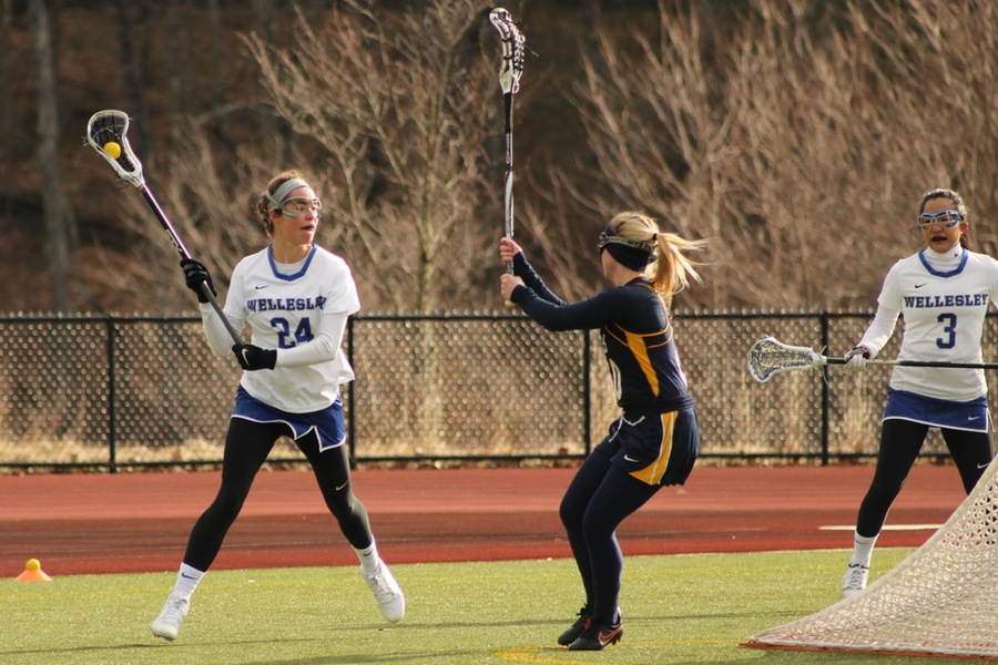 Louise Conaty led Wellesley with two goals against Wheaton (Miranda Yang)