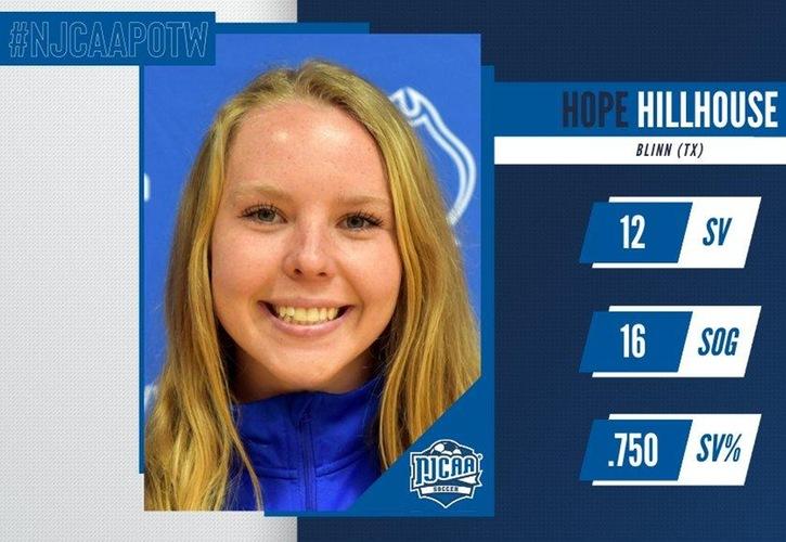 Hope Hillhouse Named NJCAA Women's Soccer Goalkeeper Of The Week