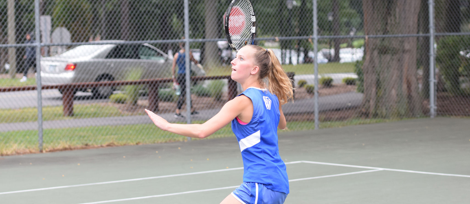 Junior Morgan Schrader was Western New England's lone winner with her victory at No. 2 singles over Alanna Judd of Nichols College on Saturday. (Photo by Rachael Margossian)