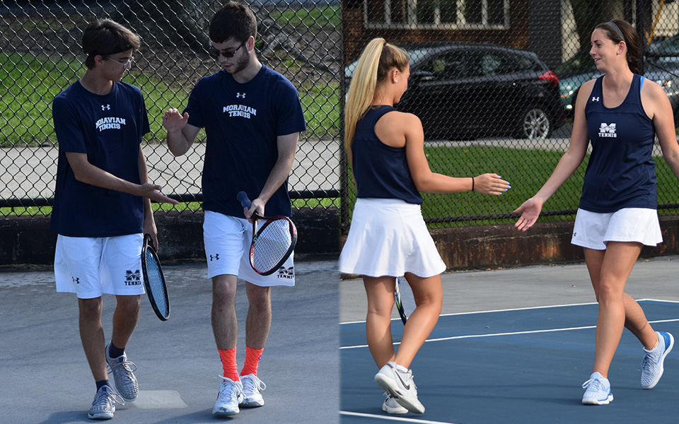 Doubles teams Neil Guarino and Sean Kearns for the men and Brooke Adams and Kate Rennar celebrate points during the fall portion of the 2018-19 season on Hoffman Courts.