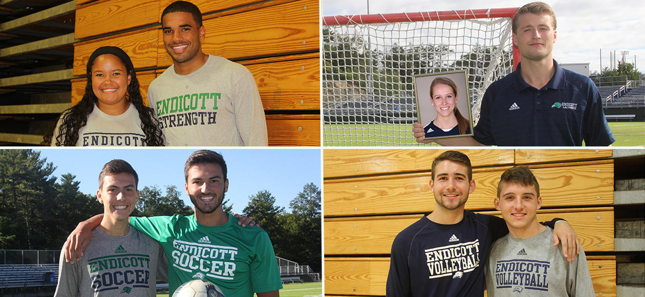 This photo is a four-photo collage featuring eight Endicott student-athletes that make up four sets on siblings on campus. Pictured (clockwise)are Jessica and Carter Glenn of the Endicott women's and men's lacrosse teams, Chad and Troy Riorden of the men's volleyball team, Conner and Evan Couchot of the men's soccer team, and Catie and Chris Lipscomb of the women's and men's basketball teams.